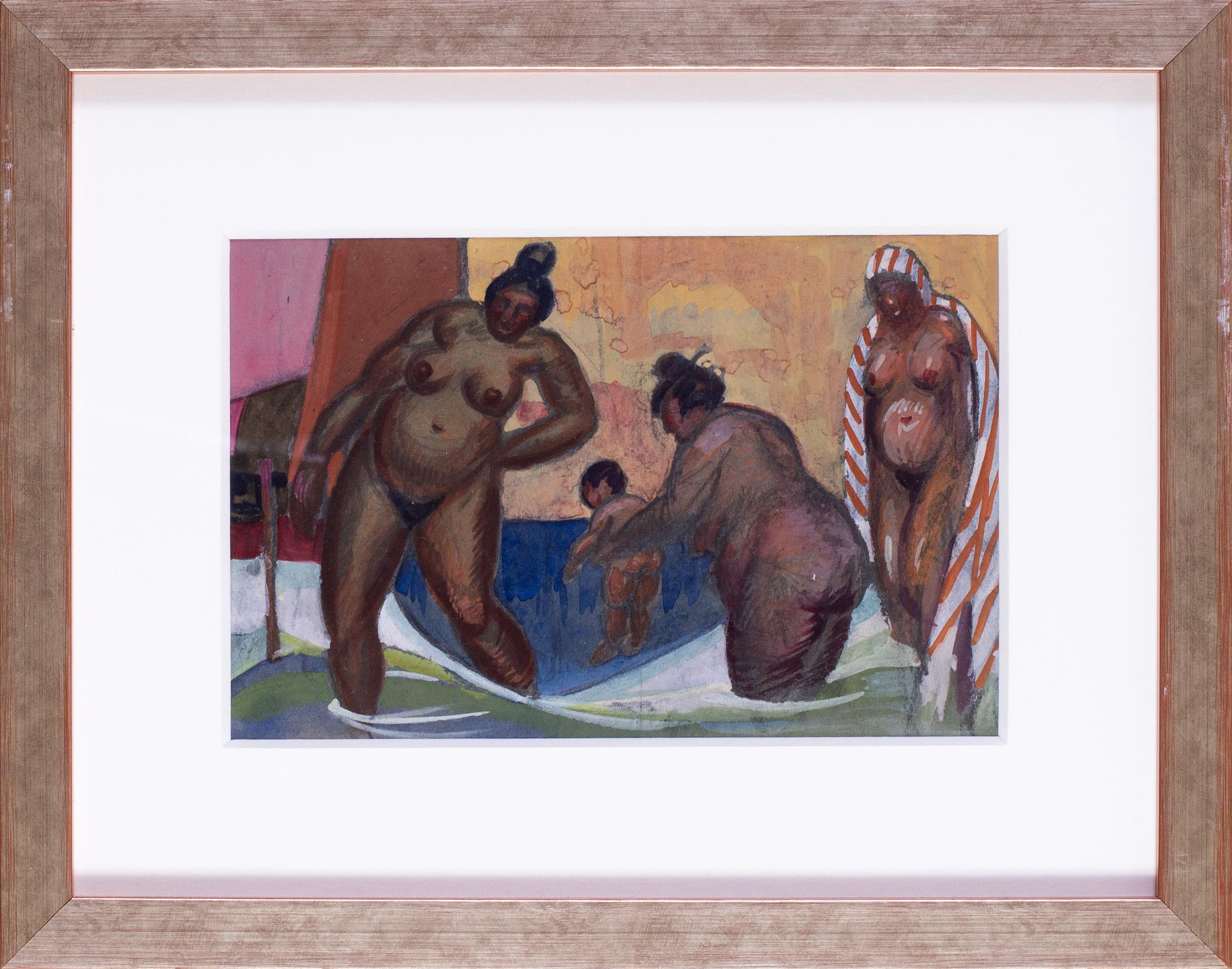 20th Century watercolour of Turkish ladies at the baths in Istanbul