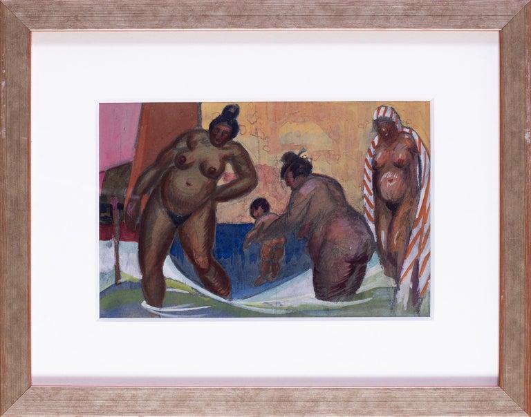Vladimir Pavlovich Nechoumoff Figurative Art - 20th Century watercolour of Turkish ladies at the baths in Istanbul