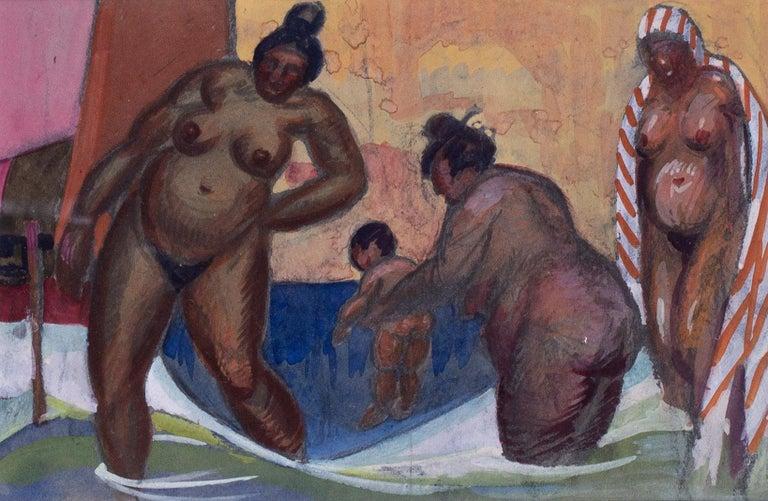 20th Century watercolour of Turkish ladies at the baths in Istanbul - Art Deco Art by Vladimir Pavlovich Nechoumoff