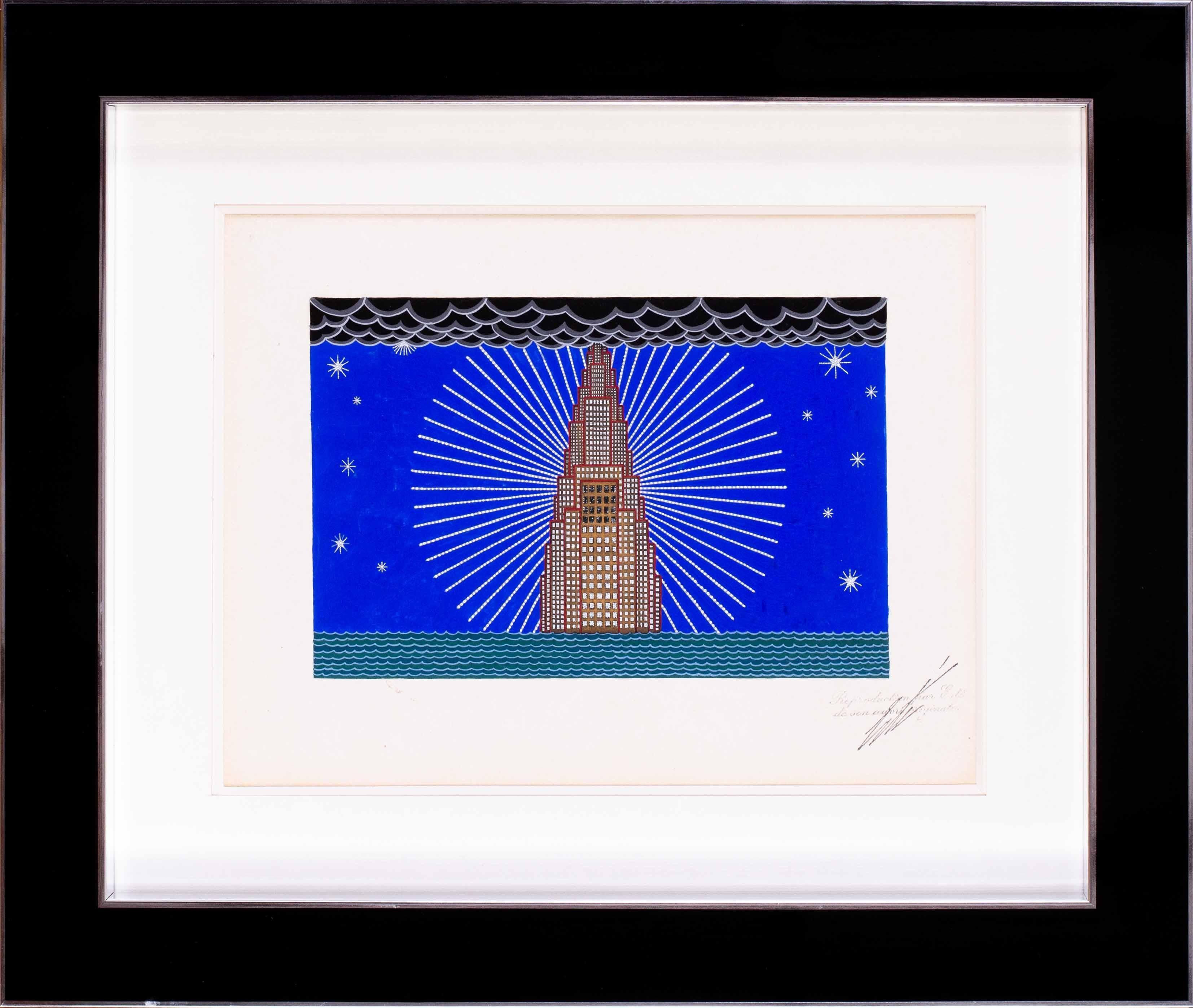 Erte, 'New York, a study for a curtain in the Operetta Manhattan Mary', art deco