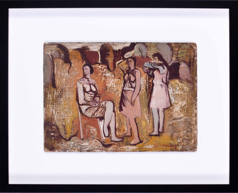 Robert Colquhoun (Scottish, 1914 – 1962) The three graces Oil on board Signed 'Colquhoun' (lower right) Executed circa 1942 / 43 10 x 14 in. (25.4 x 35.6 cm.)  This work has been expertised and we would like to thank Davy Brown for expertising this