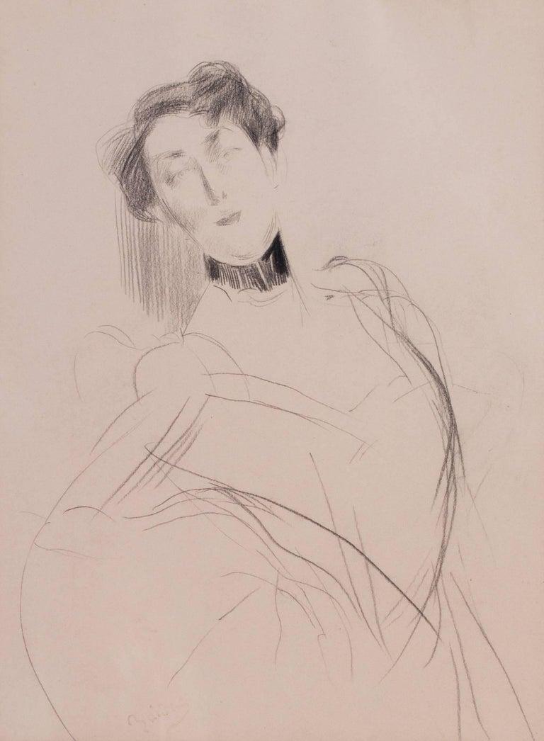 Giovanni Boldini drawing of a lady, Italian 19th Century - Impressionist Art by Giovanni Boldini