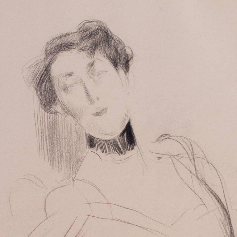 Giovanni Boldini drawing of a lady, Italian 19th Century - Gray Portrait by Giovanni Boldini