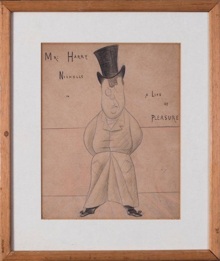 Max Beerbohm, 19th Century British caricature of Mr Harry Nichols  - Art by Max Beerbohm