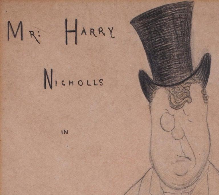 Max Beerbohm, 19th Century British caricature of Mr Harry Nichols  - Brown Portrait by Max Beerbohm