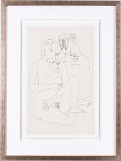 Souza, Indian 20th Century artist, drawing of two nudes