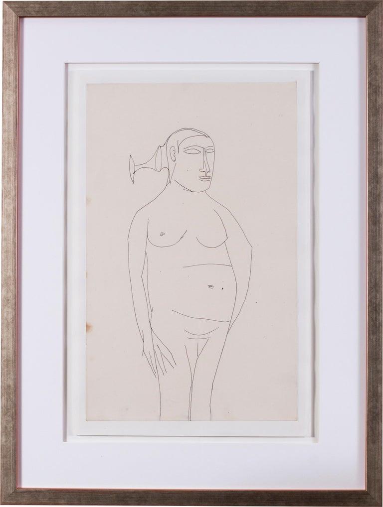 F.N. Souza Nude - Francis Newton Souza, Indian 20th Century artist, nude drawing
