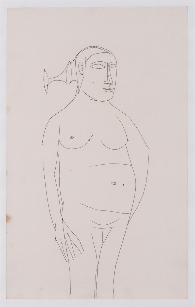 Francis Newton Souza, Indian 20th Century artist, nude drawing For Sale 1