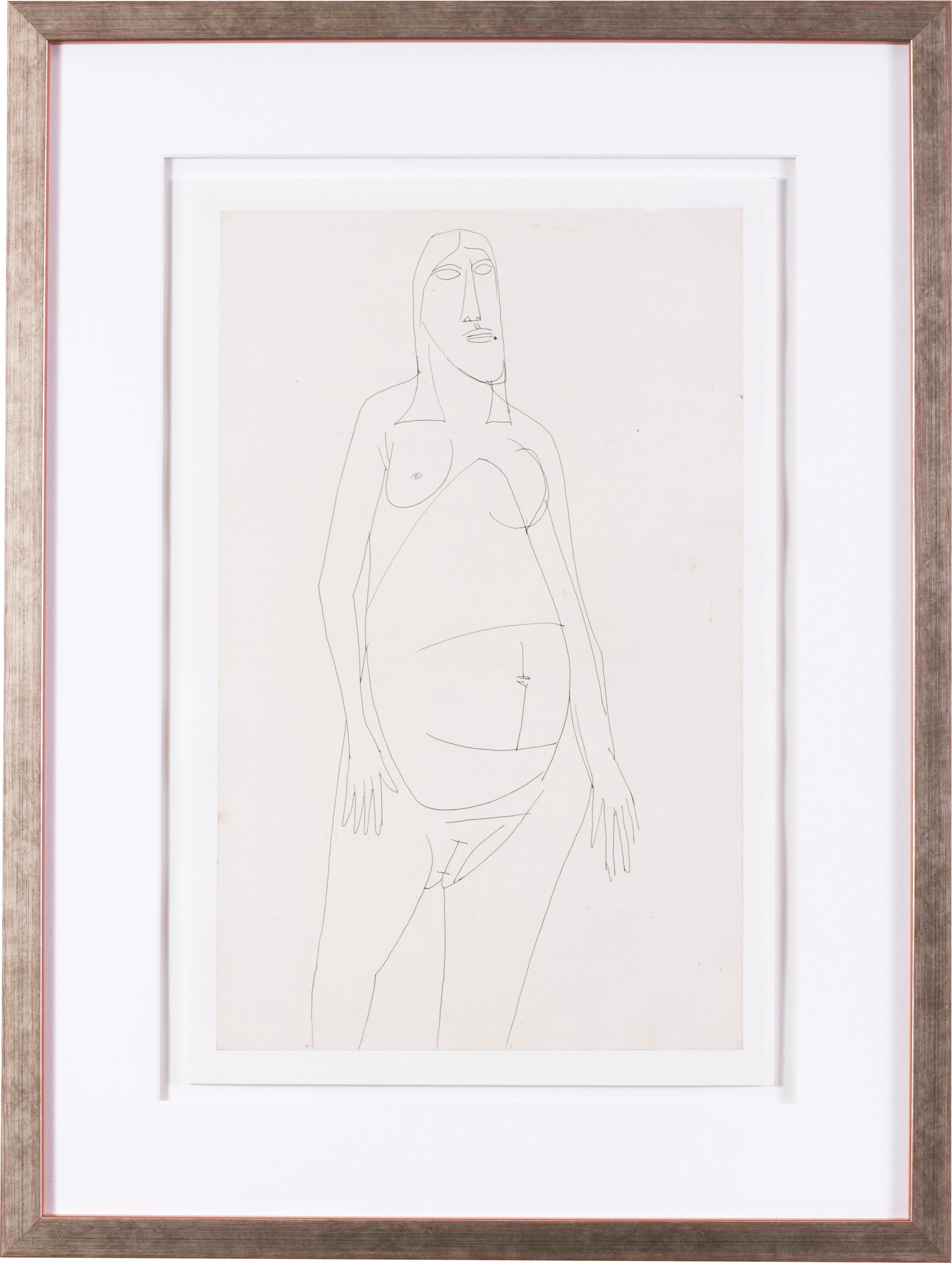 Francis Newton Souza, Indian 20th Century artist, nude abstract drawing