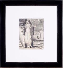 Jean Dupas art deco drawing, 'Jeune Femme Dans la Campagne'
