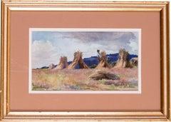 19th Century British landscape with haystacks by female artist Robinson