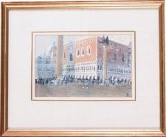 San Marco, Venice, circa 1986 watercolour by British artist John Doyle