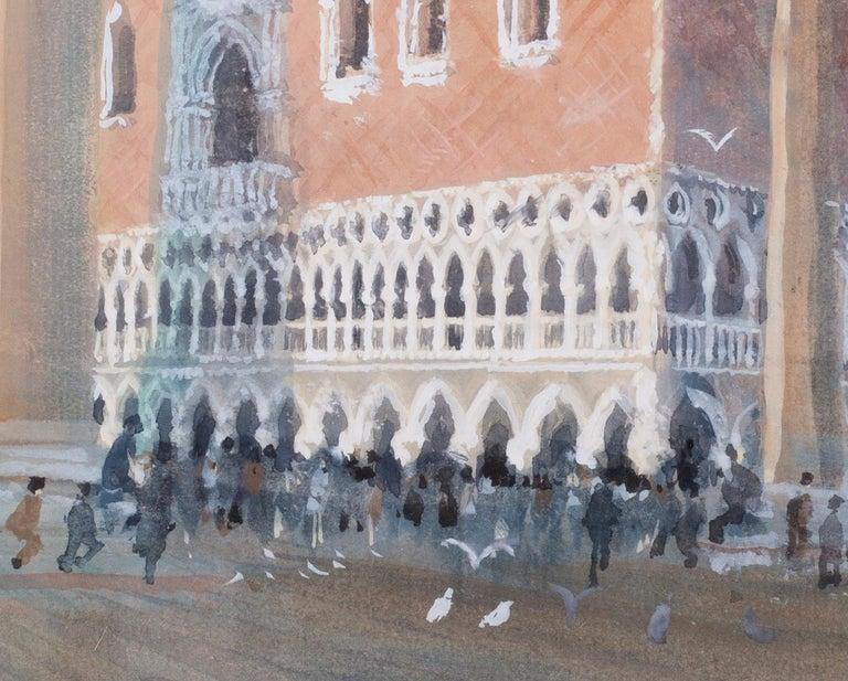 San Marco, Venice, circa 1986 watercolour by British artist John Doyle - Gray Landscape Art by John Doyle