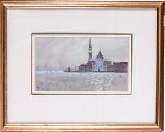 San Giorgio, Venice sunrise through mist, watercolour circa 1986 by John Doyle