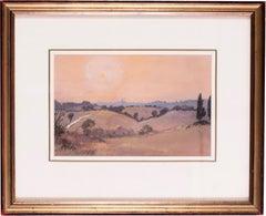Siena sunset, Italy, watercolour by British artist John Doyle circa 1986