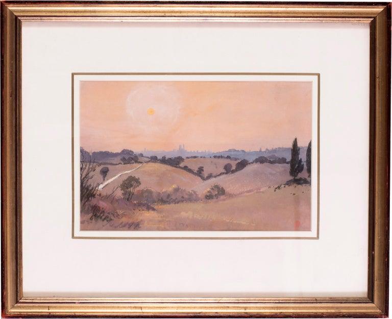 Siena sunset, Italy, watercolour by British artist John Doyle circa 1986 - Art by John Doyle