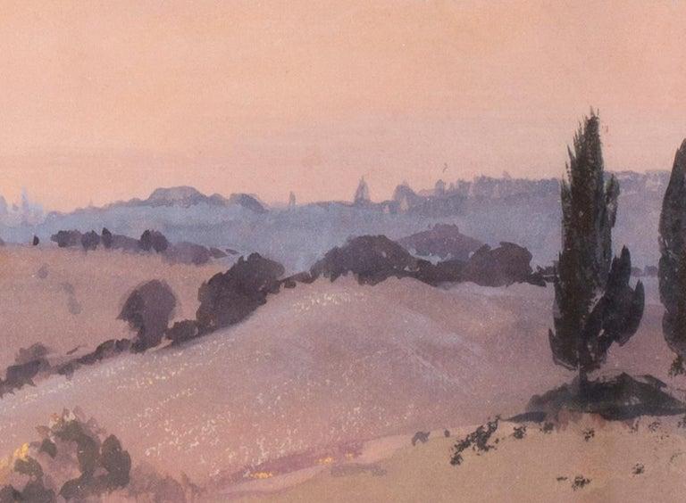 Siena sunset, Italy, watercolour by British artist John Doyle circa 1986 - Beige Landscape Art by John Doyle