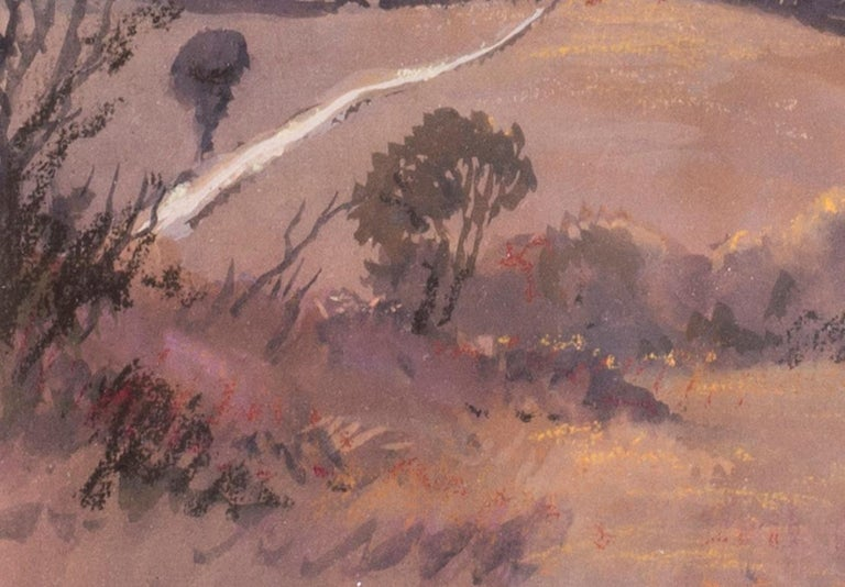 John Doyle MBE, PPRWS (British, b. 1928) Sunset, Sienna, circa 1986 Acrylic and watercolour on paper 7.3/8 x 11.1/2 in. (18.8 x 29.5 cm.)  Provenance: The Catto Gallery, London  John Doyle was born in Siddenham Hill, though apparently conceived in