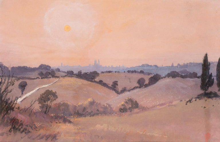 Siena sunset, Italy, watercolour by British artist John Doyle circa 1986 For Sale 1