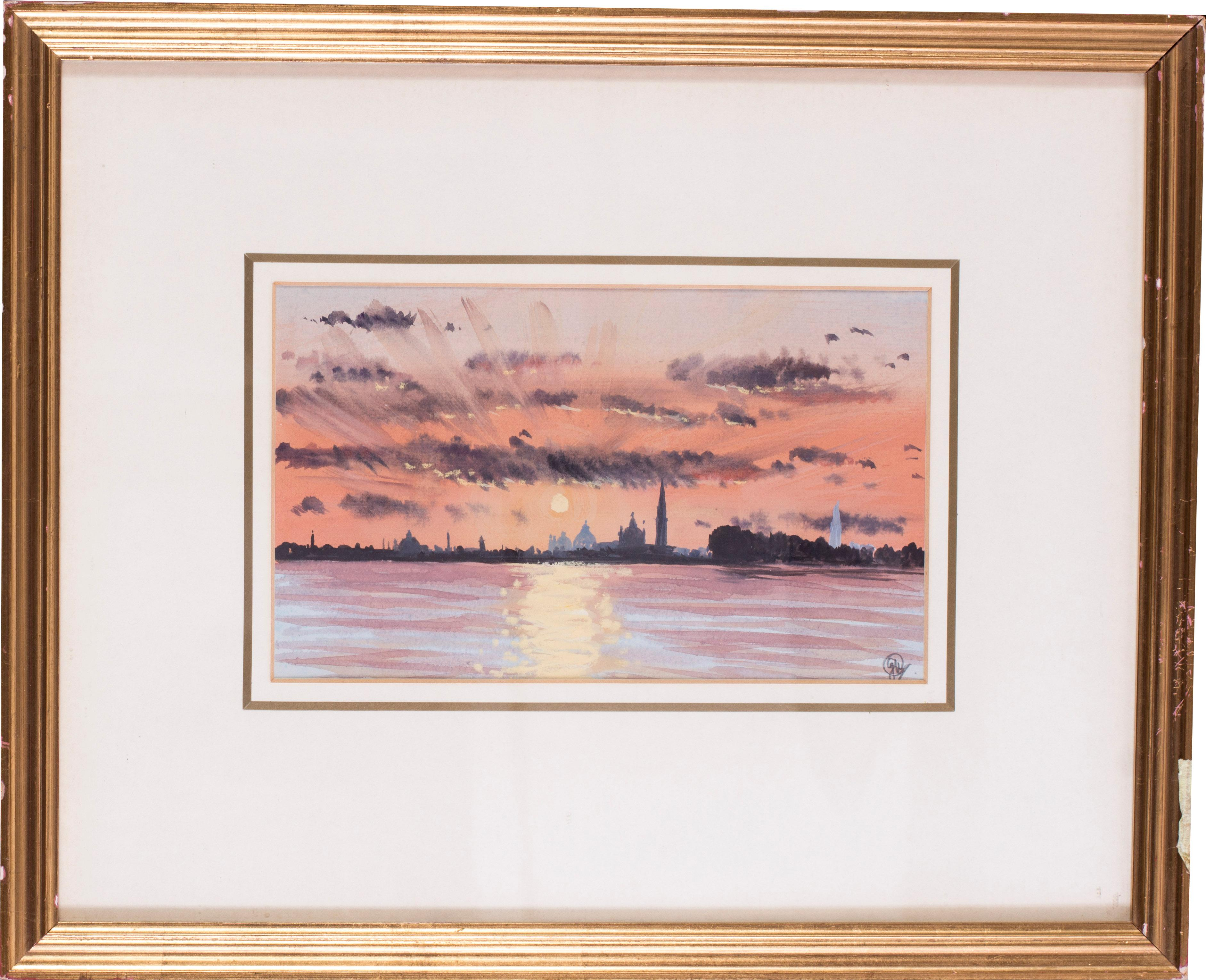 Venice sunset from the Lido, watercolour by British artist John Doyle