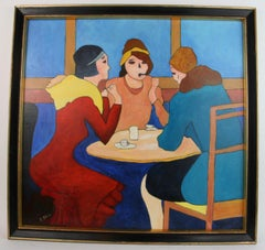 Mid Century French Cafe Gathering Female  Figurative Painting
