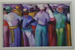 Colorful Island Party Goers Figurative