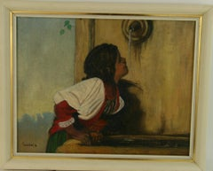 Young Girl at Fountain Figurative Landscape Painting
