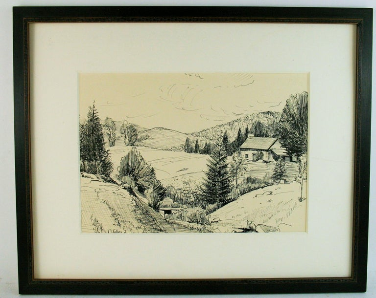 5-3259 Pen and Ink landscape of the French countryside Set in a black wood frame under glass Image size 11.5x14
