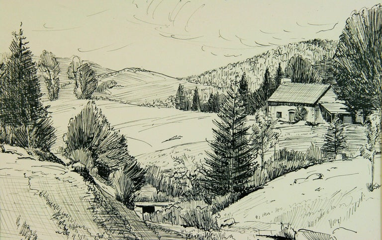 French Countryside Landscape Pen and Ink - Art by Maurice Falliès