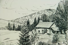 French Countryside Landscape Pen and Ink