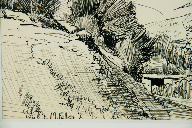 French Countryside Landscape Pen and Ink 1