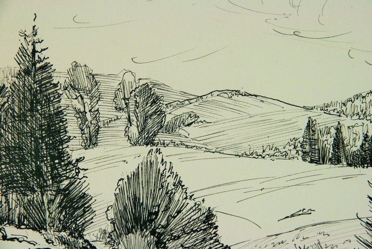 French Countryside Landscape Pen and Ink 2