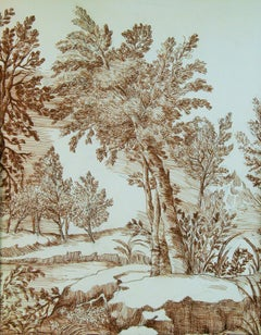 Oak Tree Pen and Ink Landscape