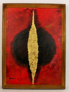 Red Gold Abstract Painting