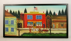 American Village Folk Art Landscape  Painting
