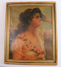 Antique  Female Portrait oil  Painting 1890
