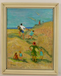 Hamptons Family Outing at the Beach Figurative Landscape  Painting