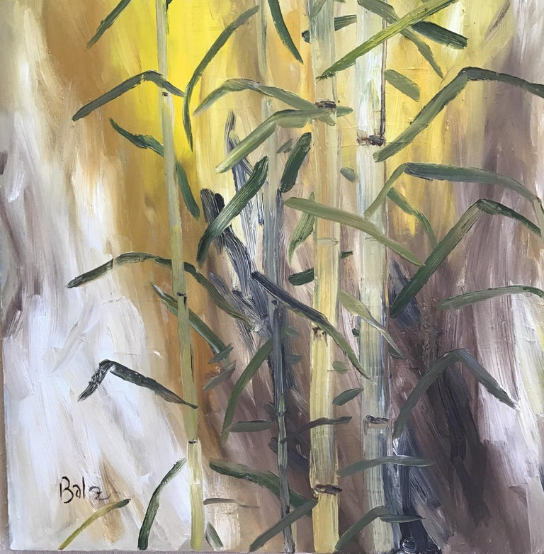 Bamboo Painting - Beige Landscape Painting by Balz