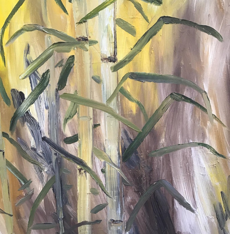 Oil on canvas of a stand of bamboo Unframed
