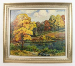 New England Countryside Landscape  Painting 1920's
