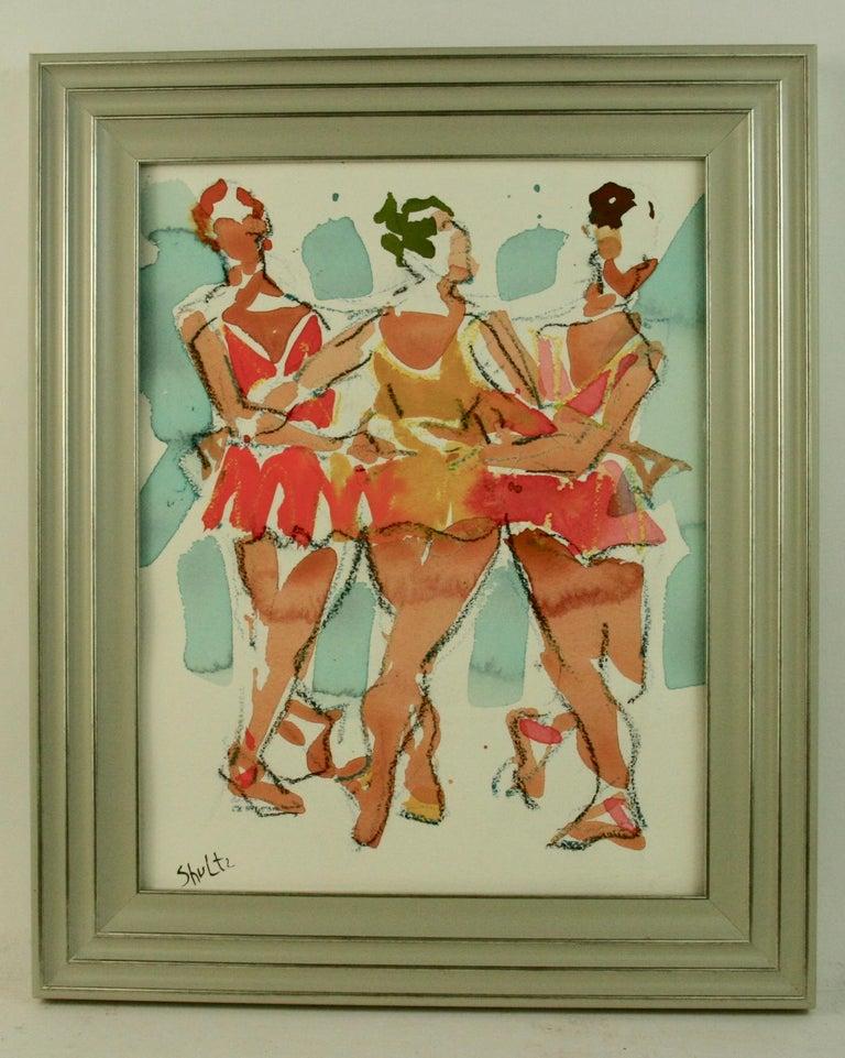 Unknown Figurative Painting - Broadway Female  Dancers Figurative