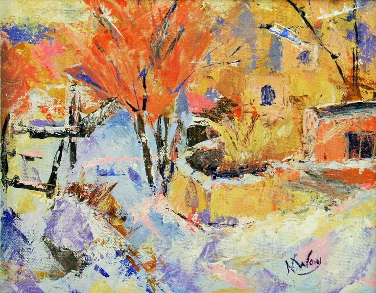 French Impressionist Village Landscape - Painting by N.Way