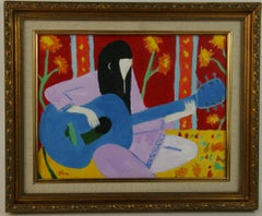 70's Folk Musician Female Figurative Landscape Painting