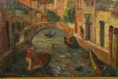 Antique Italian Venice Canal Scene Oil Painting  Circa 1890
