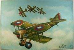 Vintage Airplanes In Flight Aviation painting