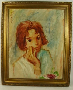 Pensive Young Girl Painting