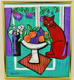 Fauvist Cat on a Table Painting