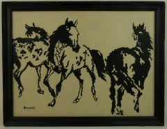 Three Horses Abstract Equestrian Painting By Brunelli