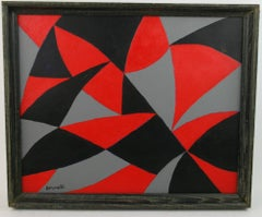 Black and Red Geometric Abstract Painting