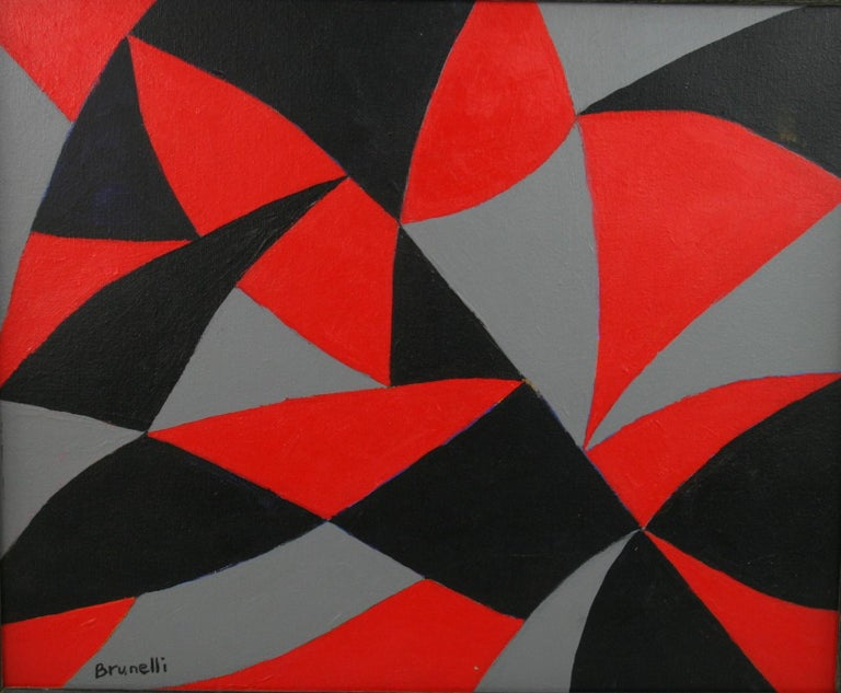 Black and Red Geometric Abstract Painting For Sale 1